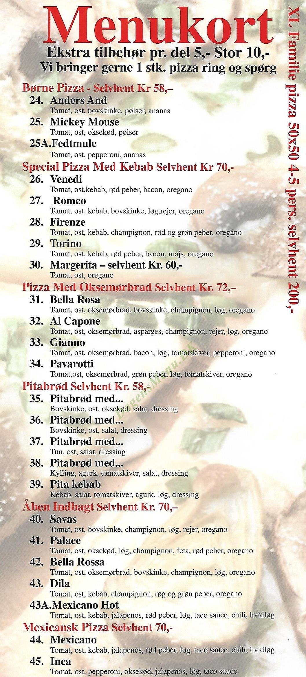 Pizza Napoli - Menukort