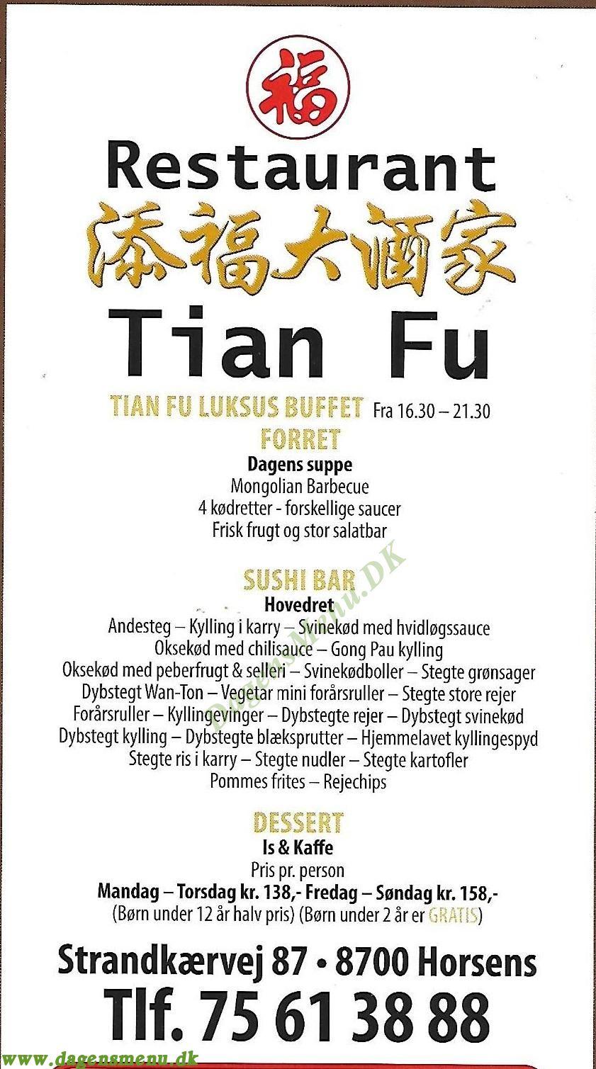 Restaurant Tian Fu - Menukort