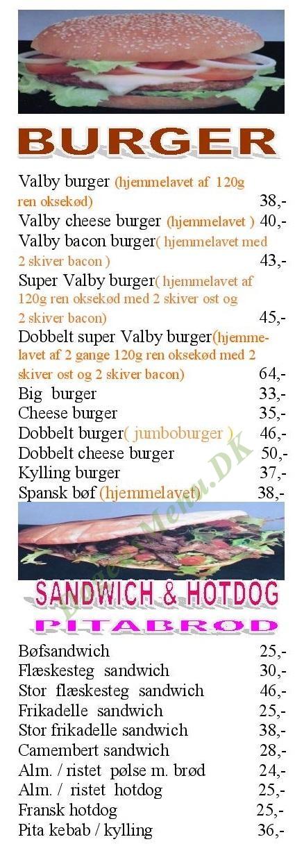 Valby Grill - Menukort