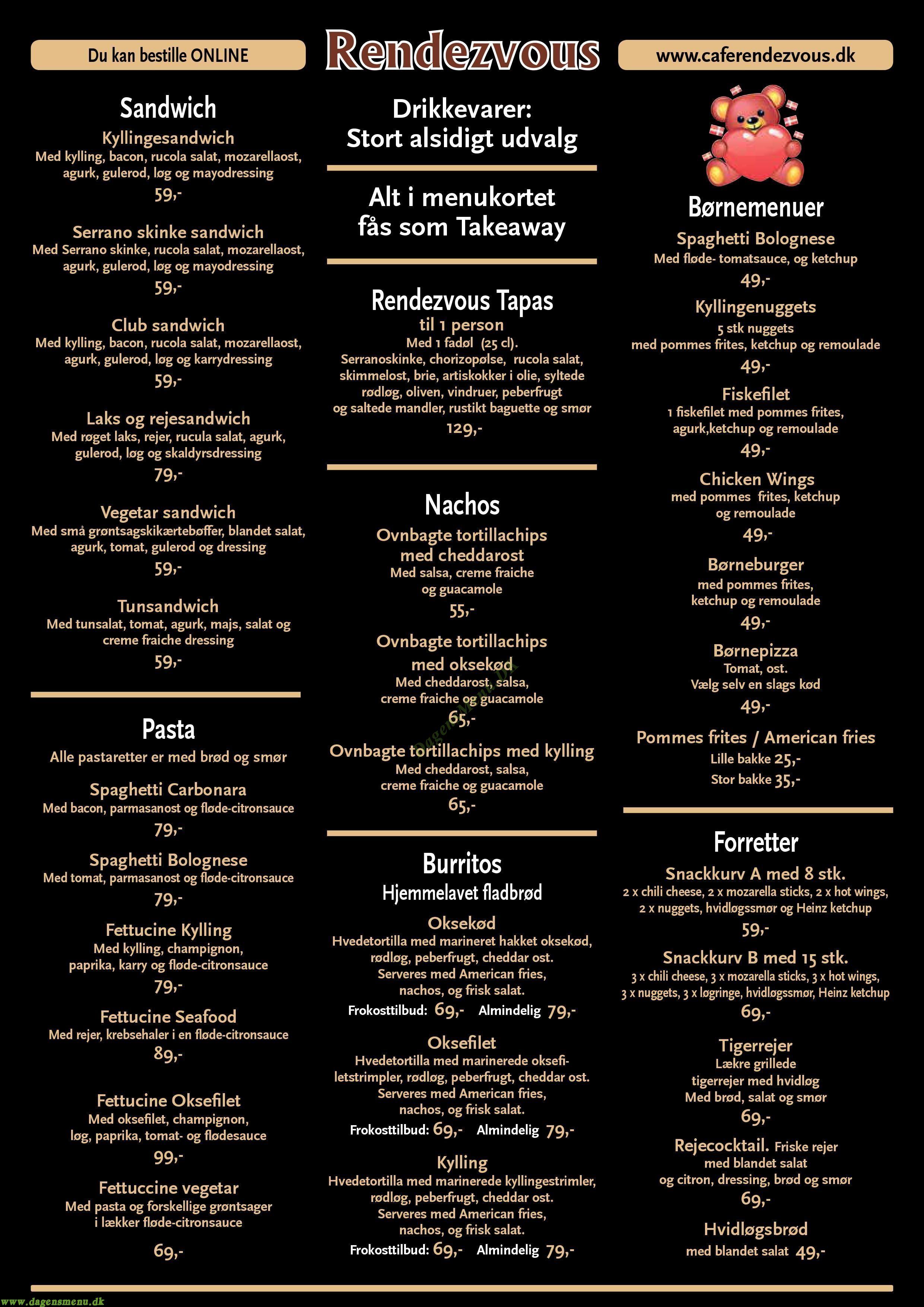 Cafe Rendezvous & Stækhouse Pizza - Menukort