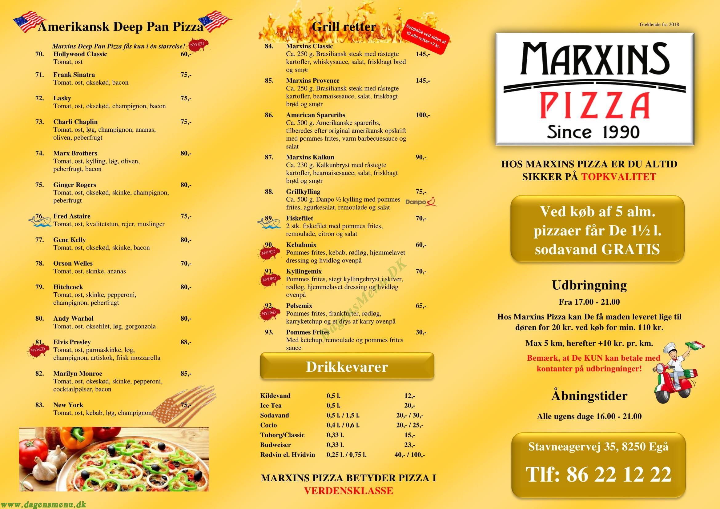 Marxins Pizza & Steak - Menukort