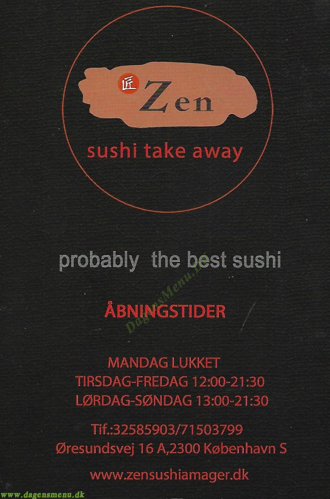 Zen Sushi - Menukort