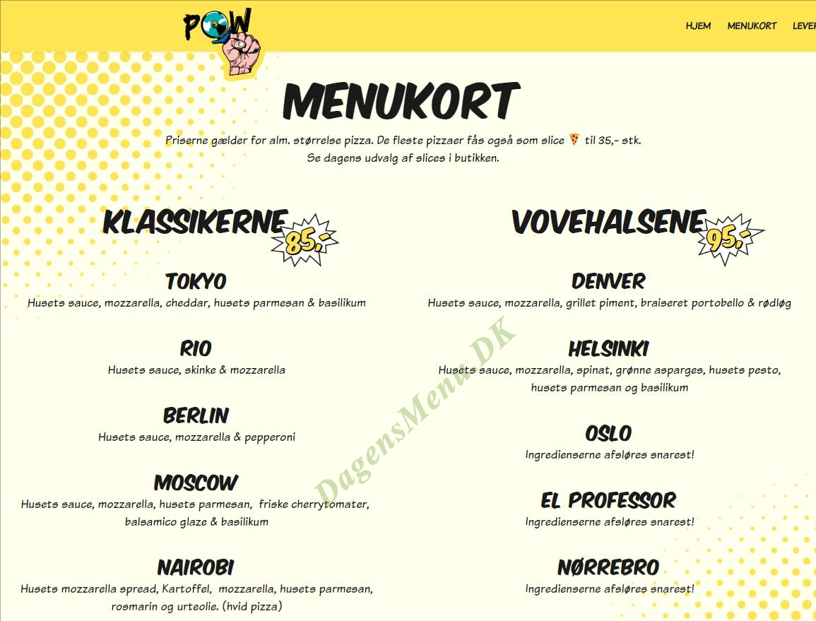 Vegan Pizza Nørrebro - Menukort