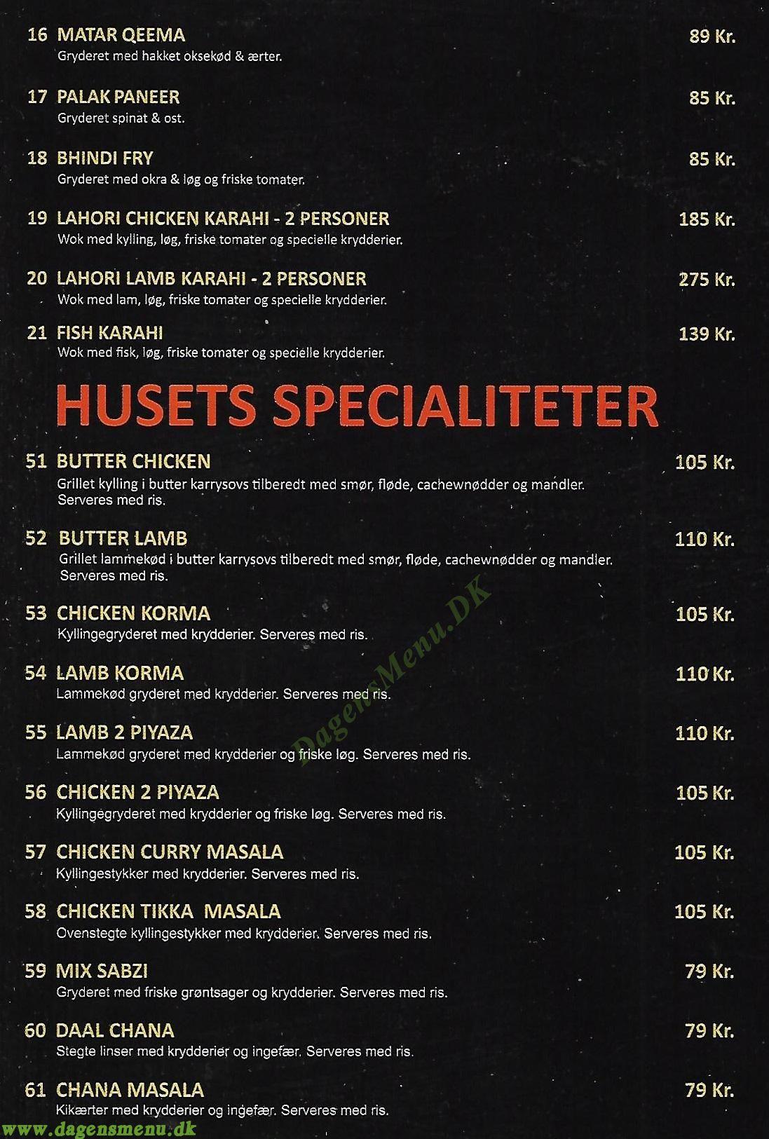 Seven Spices Restaurant - Menukort