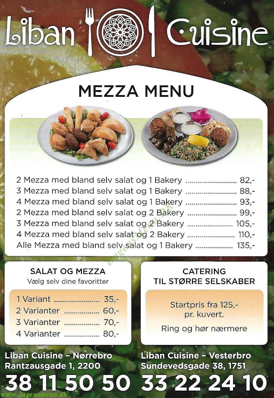 Liban Cuisine Vesterbro - Menukort
