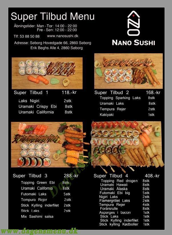 Nano Sushi - Menukort