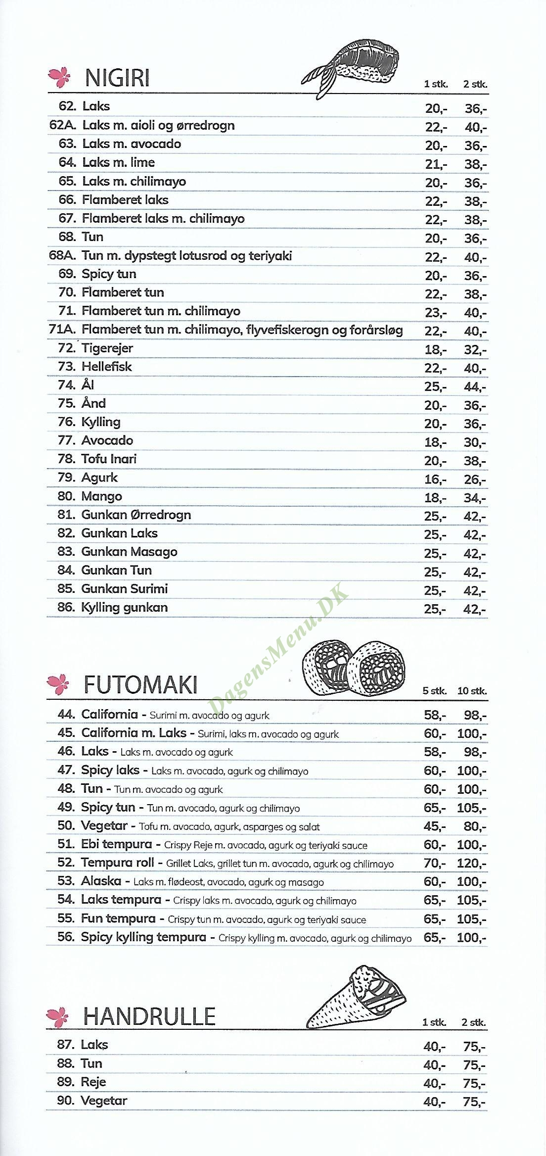 Hanami Sushi - Menukort