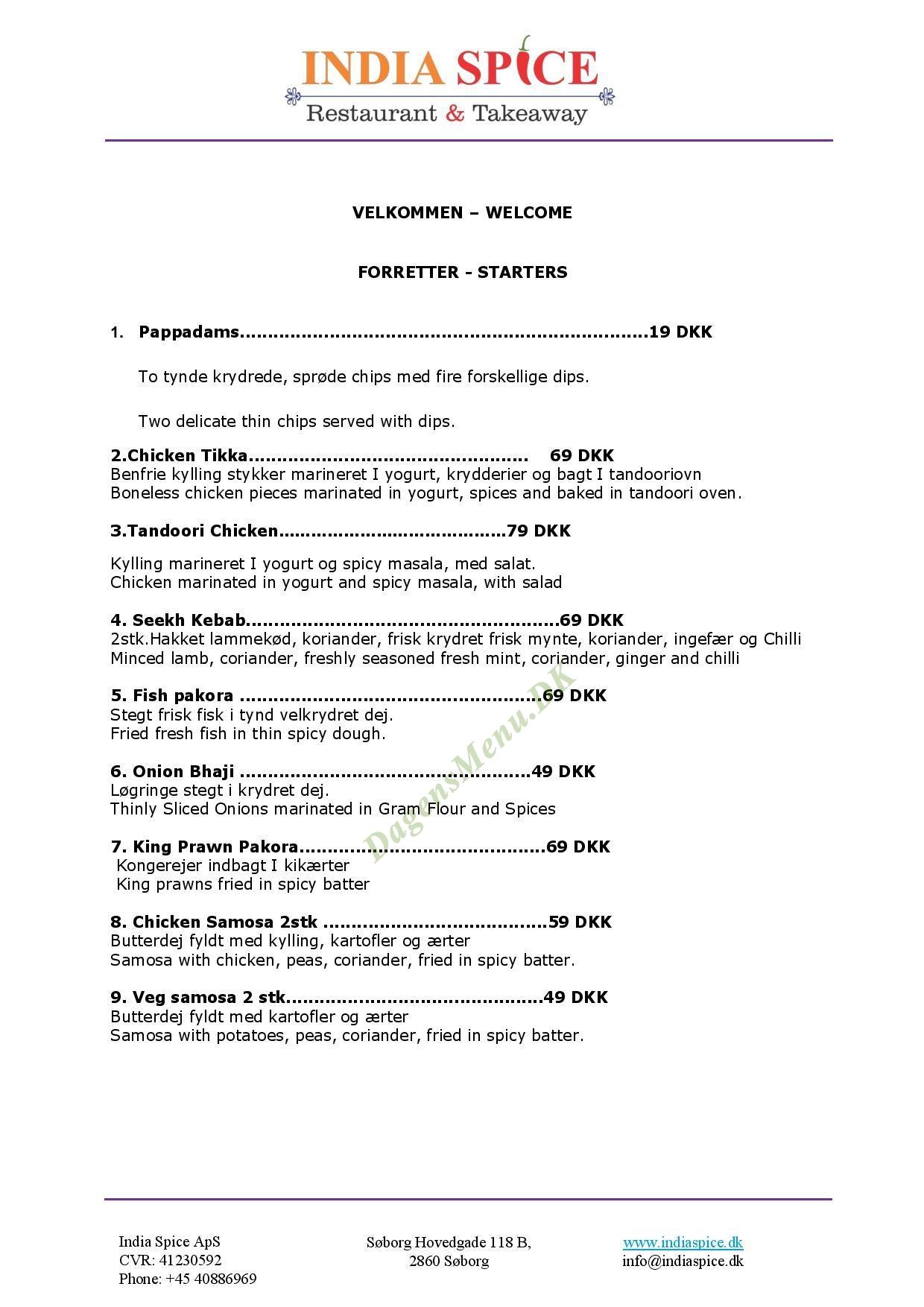 India Spice indisk restaurant - Menukort