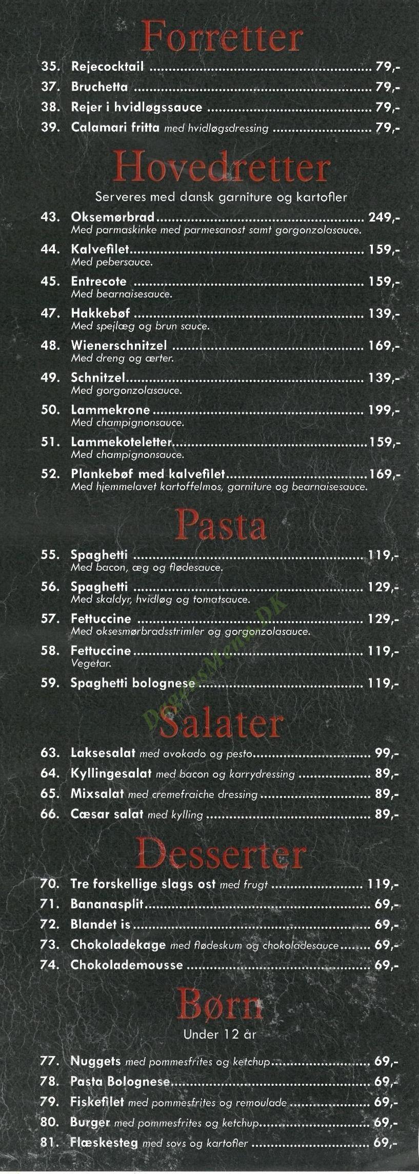 Restaurant Cafe Torvet - Menukort