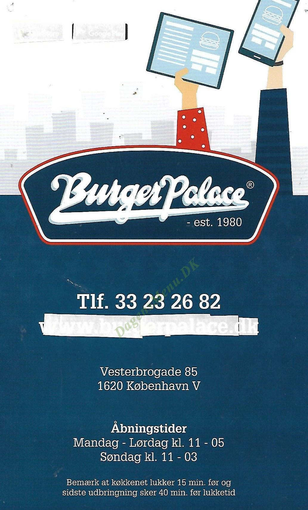 Burger Palace - Menukort