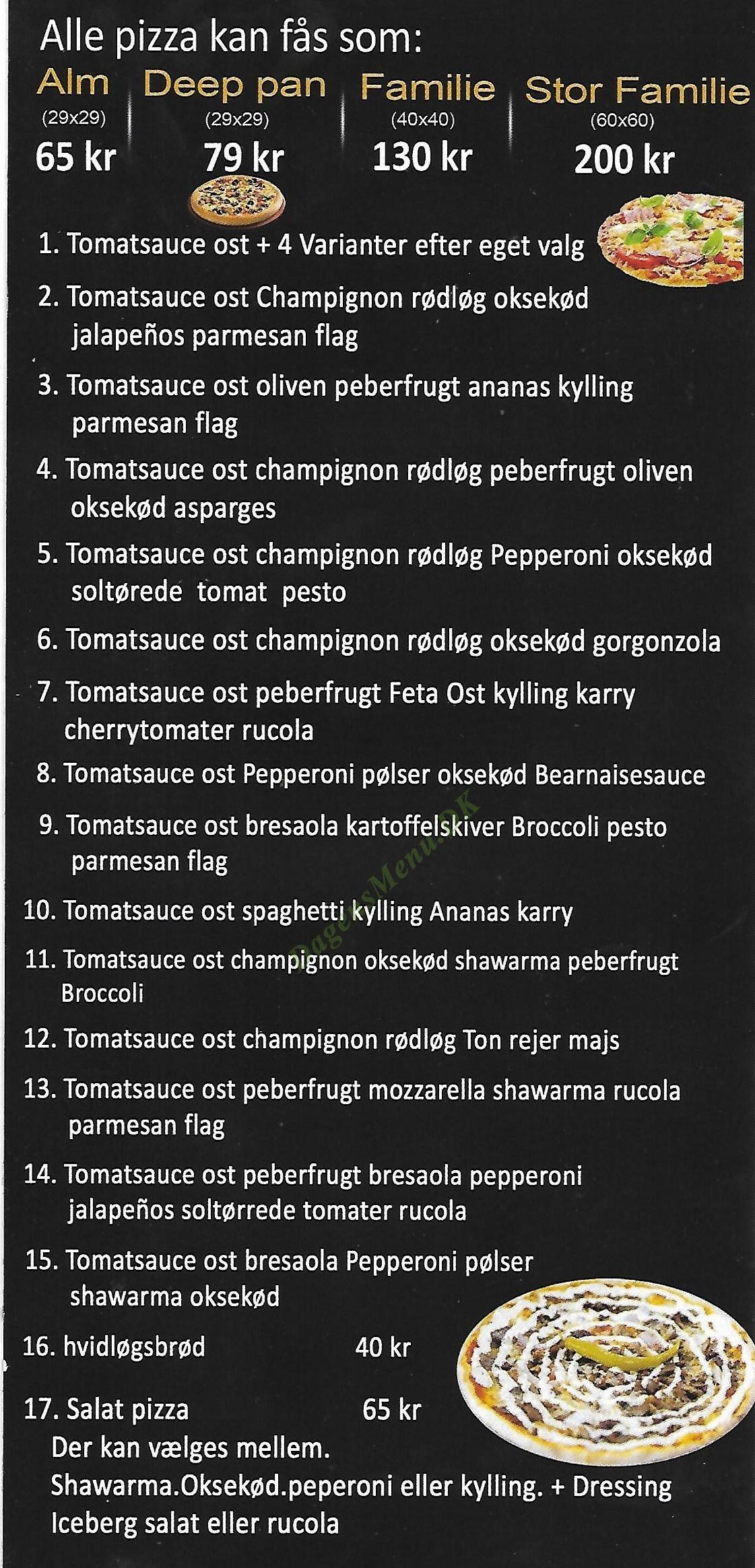 Tasty Pizza & Barberque - Menukort