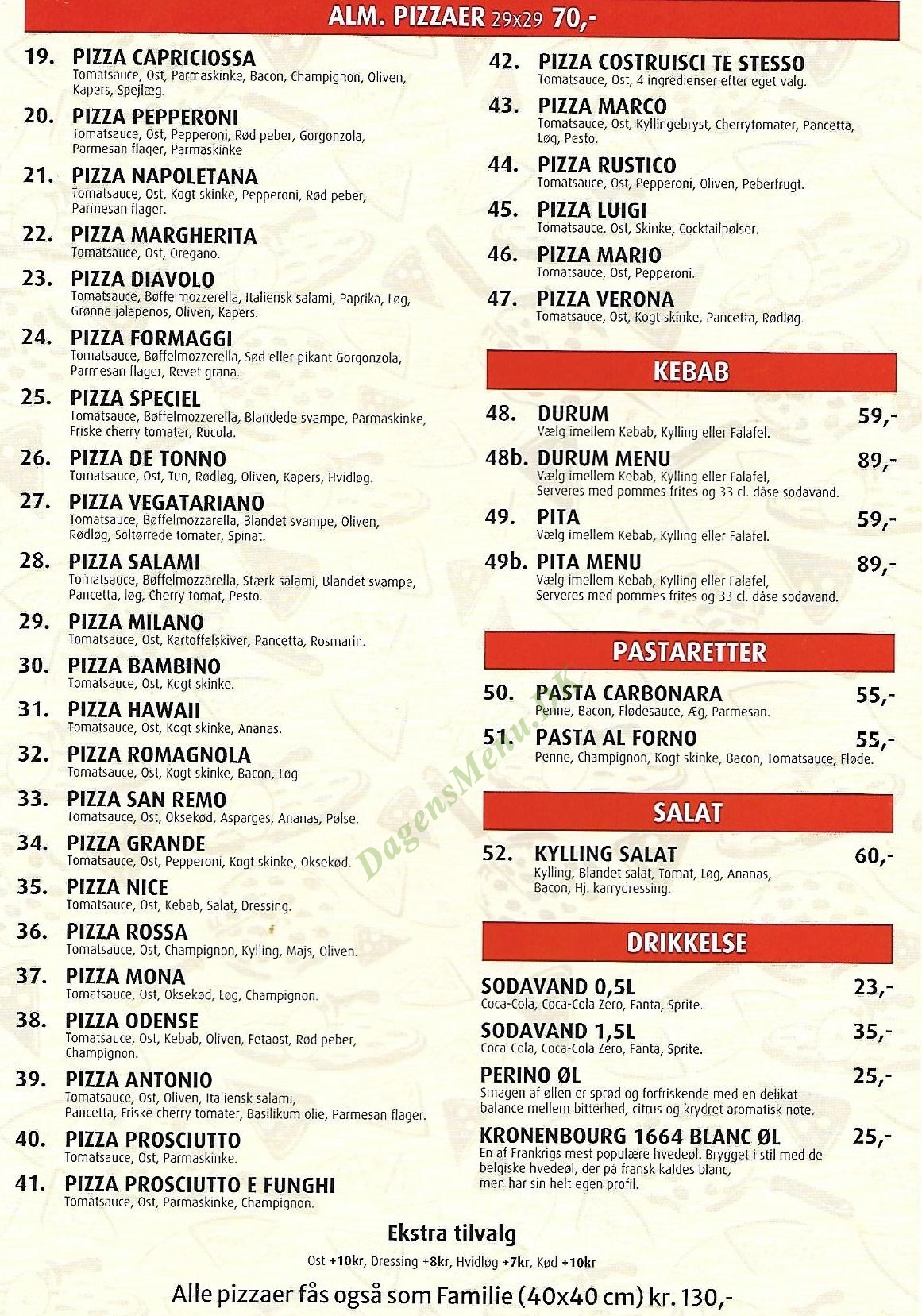 Pizza Planet Odense - Menukort