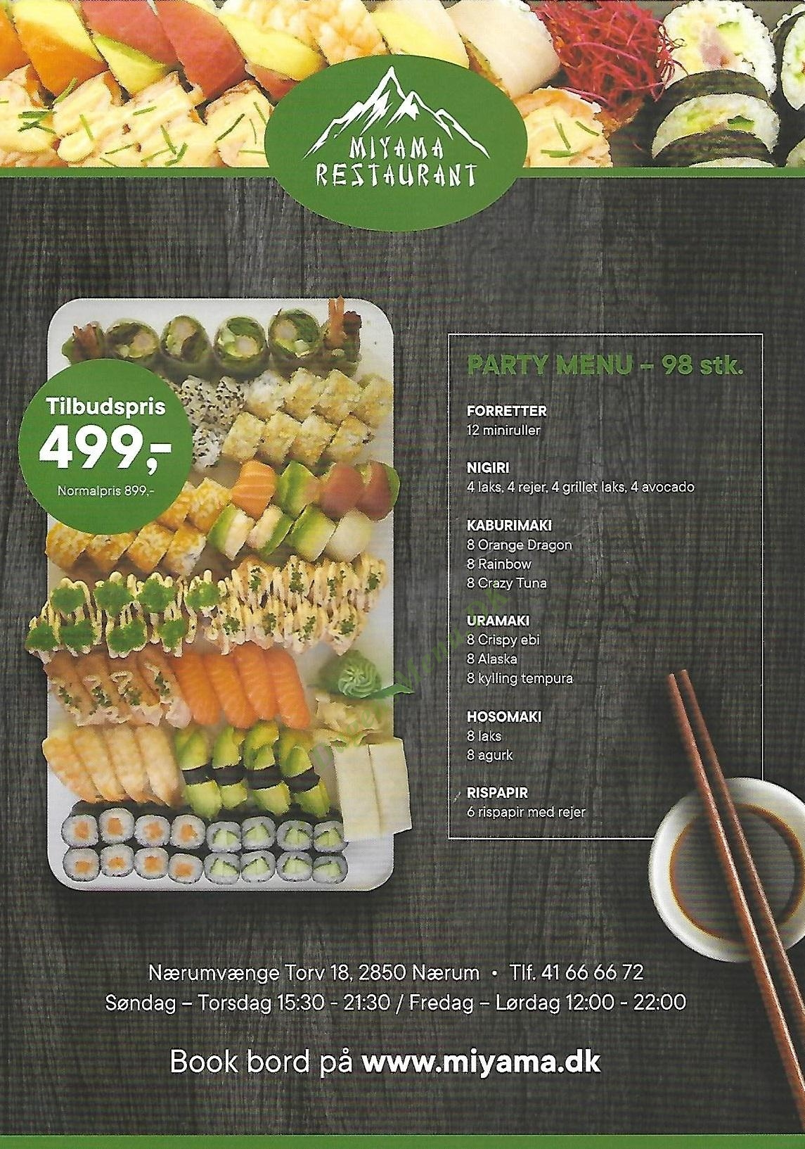 Sushi Restaurant Miyama - Menukort